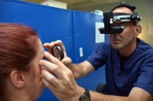 Doctor examining a patient's eye